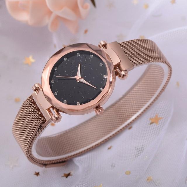 Luxury Women Watches Rose Gold Mesh Ladies Clock Magnet Buckle Starry Diamond Geometric Surface Casual Dress Quartz Wristwatch 1