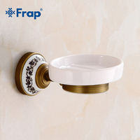 FRAP New Brass Soap Holder Fashion Circular Pure Copper Ceramic Dish Carved Brushed Soap Basket Bath Shower Soap Tray CupsY18034
