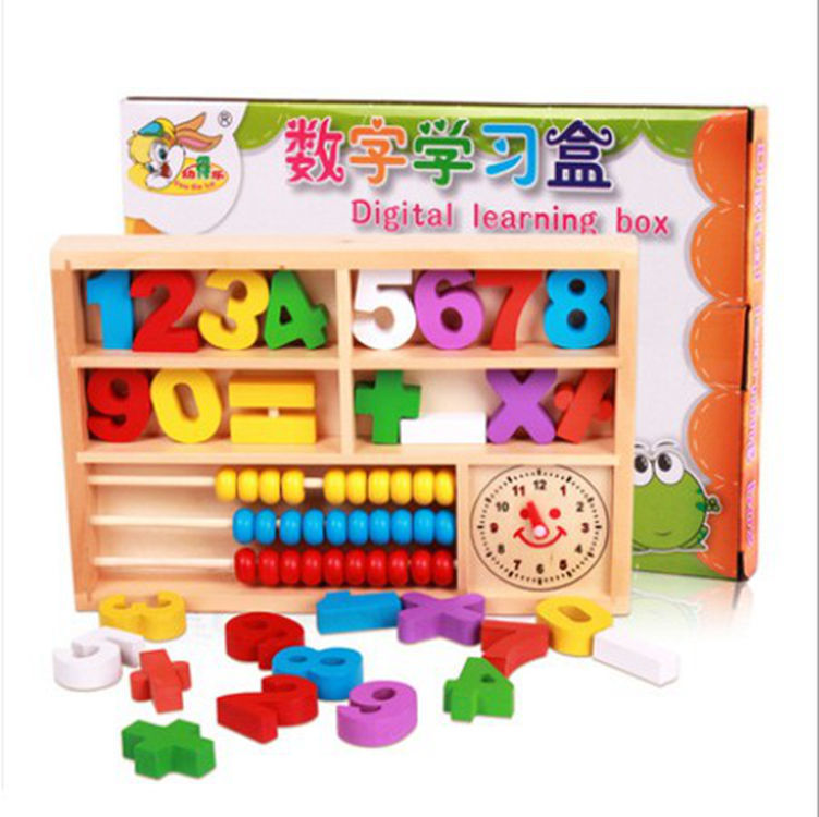 Wooden Children's educational toys learning digital multifunction digital building blocks box wooden abacus toys for baby kids 100pcs wooden building blocks brick kids educational learning toys set