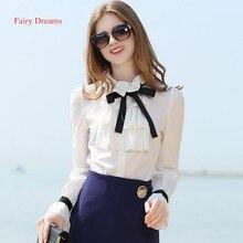 Fairy Dreams Women Shirt White Blusas With Bow 2017 Spring Summer New Style Long Sleeve Fashion Blouses Korean Fashion Clothing