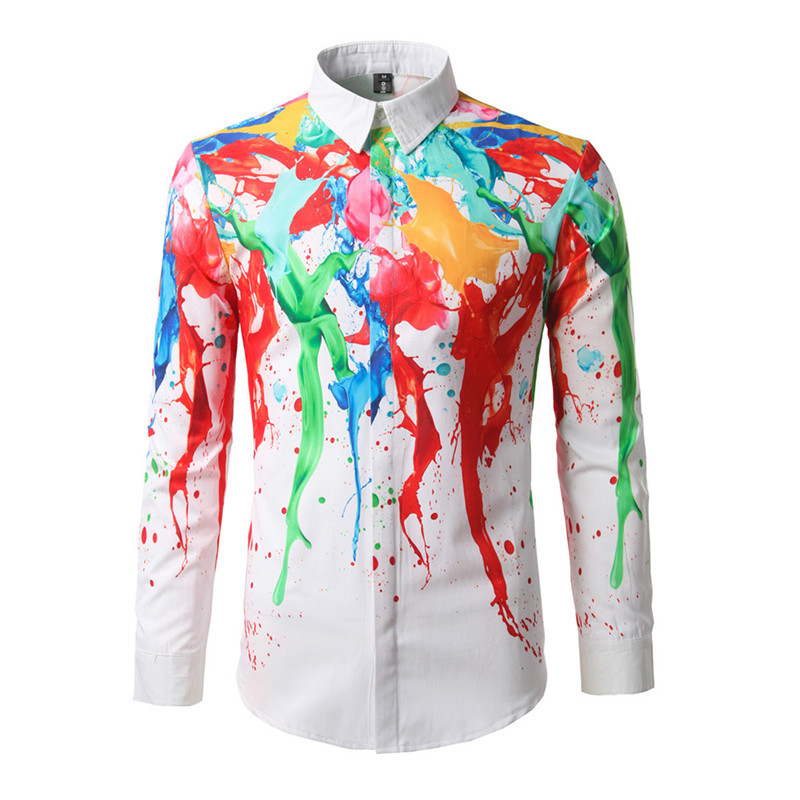 2017 new casual men shirt hawaiian mens long sleeve shirts for Mens slim hawaiian shirt