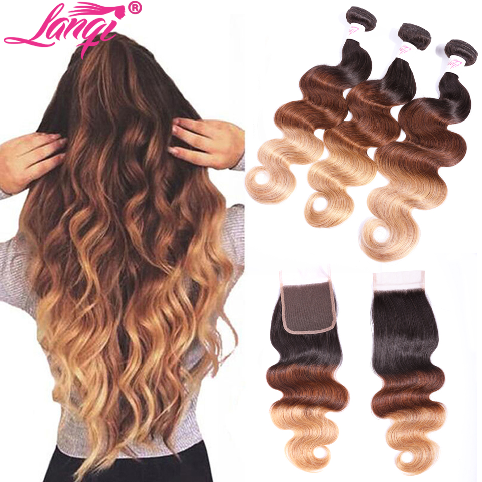 Body Wave Ombre Bundles With Closure 1b/4/27 Brazilian Hair Weave Bundles Non Remy Human Hair Honey Blonde Bundles With Closure