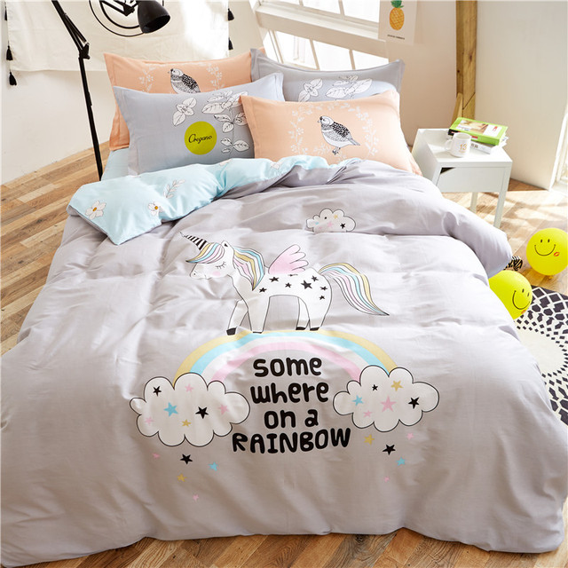 Marvelous 4 Piece Sheet Set Nordic Bed Teen Bedding Sets Nordic Bed Linen Unicorn Bedding  Set Bedroom Cover Children Cotton Bedding Set