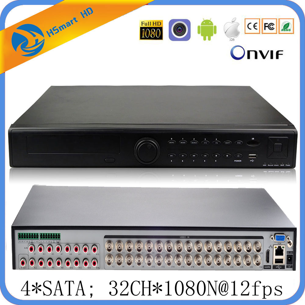 32CH TVI AHD CVI 4SATA 6 in 1 1080N Hybrid Coaxial 4TB HD DVR 16CH Audio input 16CH Alarm input Support Wifi Onvif P2P Xmeye app