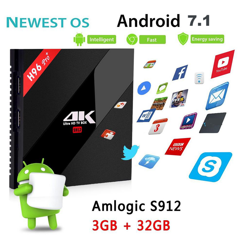 Image 3 - Orignial H96 pro plus Smart Android 7.1 TV Box 2GB 3GB 16GB 32GB Amlogic S912 Octa Core 2.4G 5.8G WiFi H.265 4K IPTV Youtube-in Set-top Boxes from Consumer Electronics