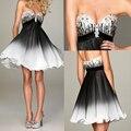 Gradient black short cocktail dresses 2017off shoulder sequin beaded chiffon coctail dress pleat prom party gown robe de soiree