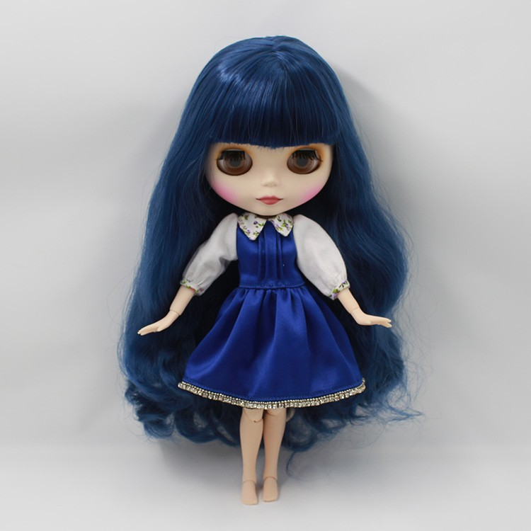 Neo Blythe Doll with Blue Hair, White Skin, Matte Face & Jointed Body 6
