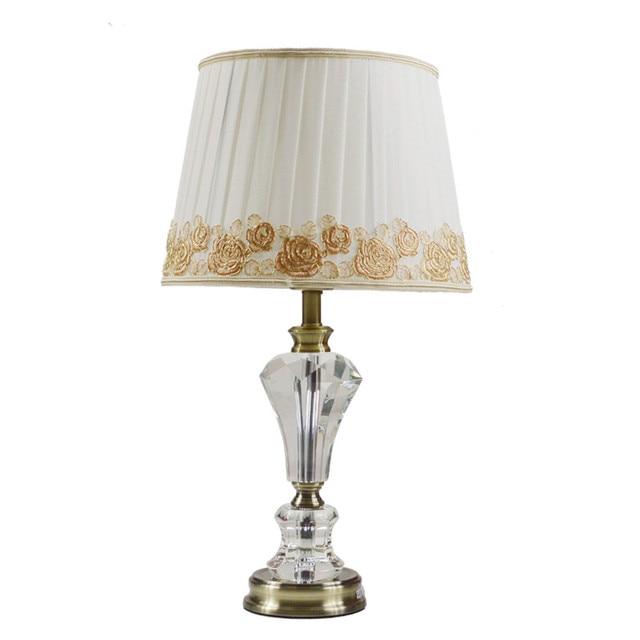 European bedside lamp bedroom crystal table lamp modern simple warm luxurious high-end LED desk lights wedding decorative lamp