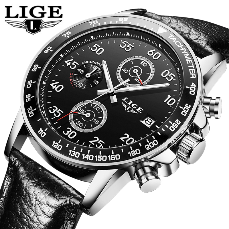 LIGE Watch Men Fashion Sport Quartz Clock Mens Watches Top Brand Luxury Leather Business Waterproof Wristwatch Relogio Masculino frankenstein