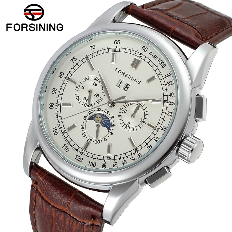 FSG319M3S2 Forsining latest Automatic business watch for men with moon phase brown genuine leather strap free shipping gift box forsining latest design men s tourbillon automatic self wind black genuine leather strap classic wristwatch fs057m3g4 gift box