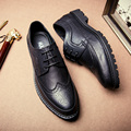 Clásico Inglaterra Brock Hombres Visten Zapatos Auténticos Zapatos de Cuero de LA PU Gris Casual Pisos guapo Punta estrecha Elegantes Zapatos de la Marca de Lujo