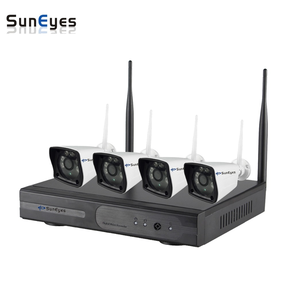 SunEyes SP-JK1804W 4CH HD Wireless IP Camera and NVR Kit Plug and Play Connection with 4pcs 1080P Full HD Outdoor Wifi Camera ...