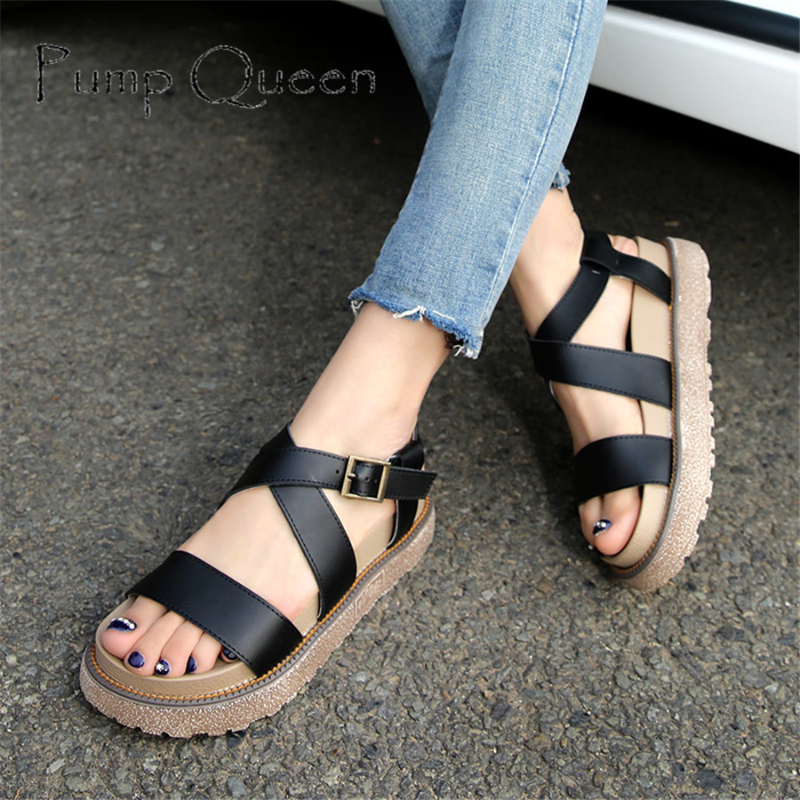 New 2018 Summer Women Shoes Sandals Peep-toe Flat Open Toe PU Leather Roman Female Casual Sandals Shoes Plus Size mudibear women sandals pu leather flat sandals low wedges summer shoes women open toe platform sandals women casual shoes