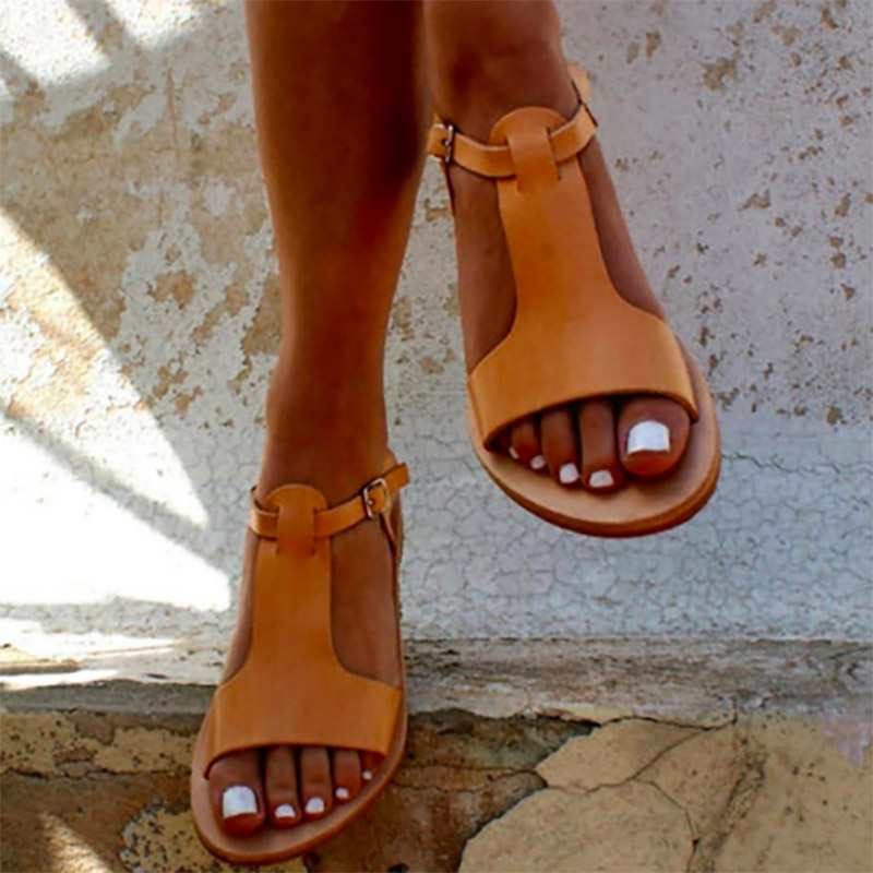 43596ff15fc Women Sandals Soft Leather Gladiator Sandals Women Casual Summer Shoes  Female Flat Sandals Zip Plus Size 35-44 Beach Shoes Women - Stylish Womens  Clothing ...