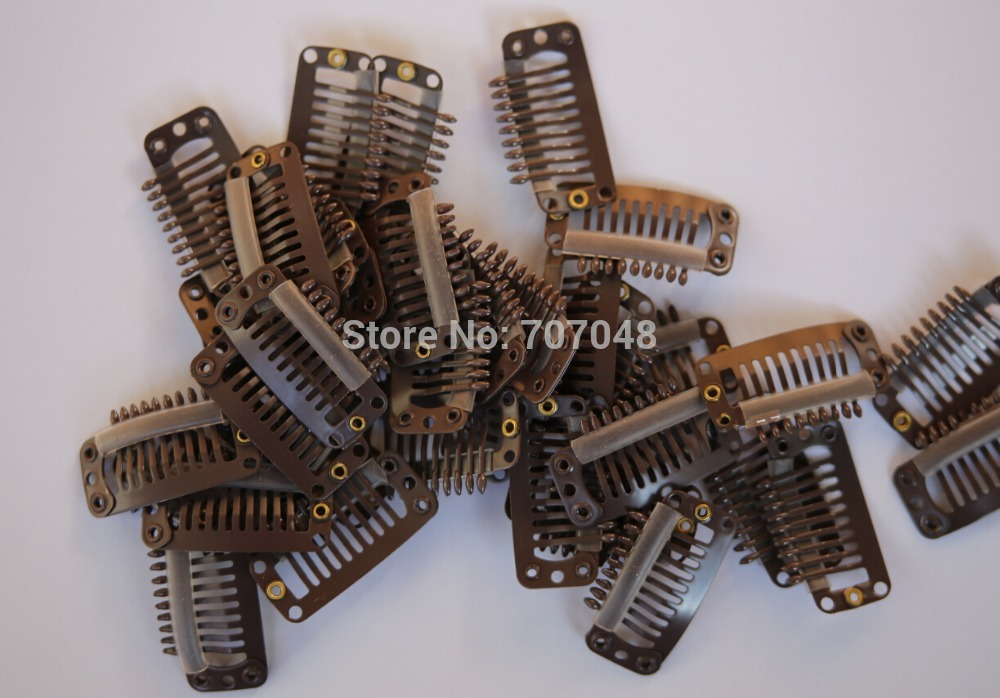 Free shipping 20pieces/lot Brown 9-teeth Large Hair Clips Wigs Clip hair extension clips ...