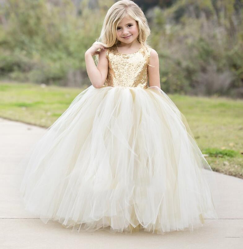 Puffy Flower Girls Dresses Ivory Champagne tulle bling Gold Sequins Top keyhole back baby Ball Gown long tutu dress for wedding gorgeous lace beading sequins sleeveless flower girl dress champagne lace up keyhole back kids tulle pageant ball gowns for prom