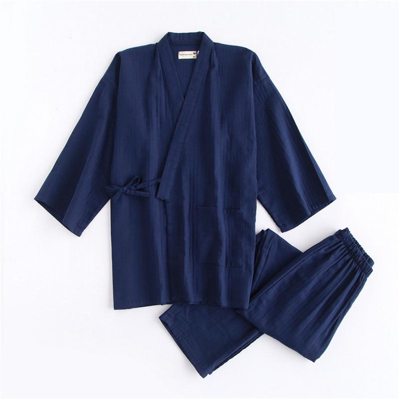 Spring Autumn Men Cotton Robe Pajamas Pyjamas Set Solid V-Neck Sleepwear Suit Casual Home Wear Loose Kimono Steam Clothes M L