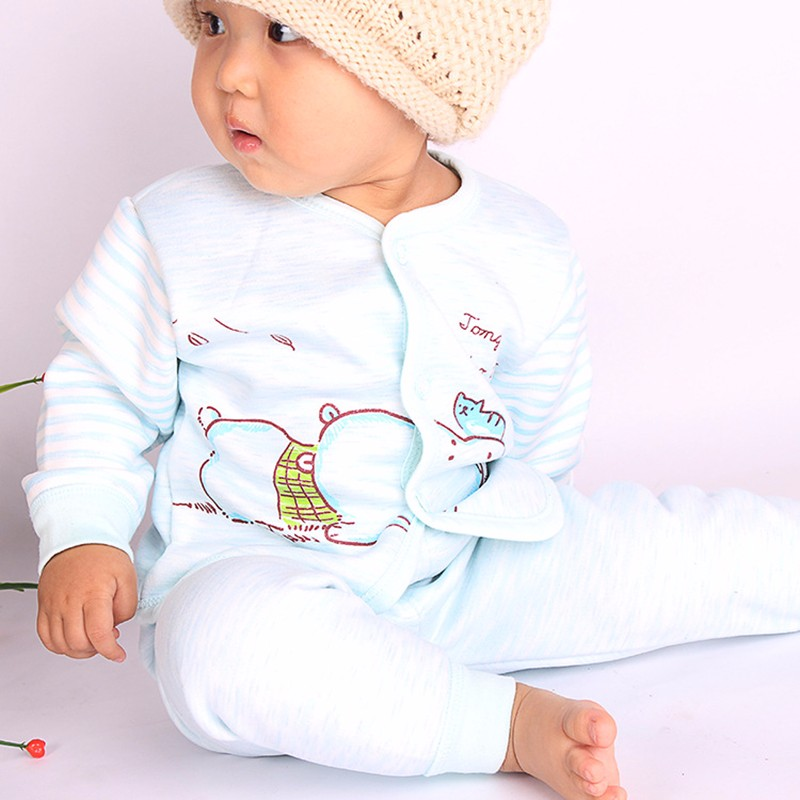 2PCS Winter Newborn Set Cartoon Hippo Girl Boys Clothes Long Sleeve Unisex Suit Baby Top+Pants Sets Candy Color Infant Underwear (9)