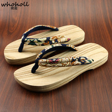 WHOHOLL Japanese Clogs Men Women Couple Lovers Wooden Geta Flip-flops Slippers Kimono Non-slip Wooden Shoes Cosplay Clogs