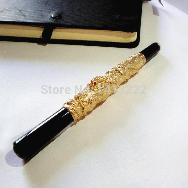 Lyxig guldfärgad metallpenna graverad med 3D Dragon penna unik gåvor av hög kvalitet för män gåva till din chef med gratis frakt