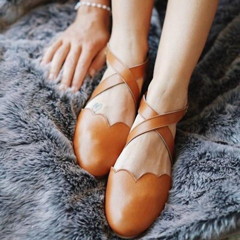 Monerffi Delle Donne Di Colore Solido Sandali Piatti Di Cuoio Casual Cinturino Alla Caviglia Fibbia Scarpe Fresco Piatto Scarpe Da Spiaggia Inferiori Sandalias De Mujer Lucentezza Luminosa