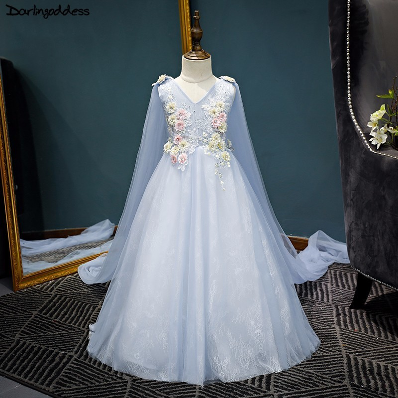2018   Flower     Girl     Dresses   for Weddings Elegant Blue Pageant Dersses for   Girls   First Communion   Dresses   Kid Ball Gown Evening Gowns