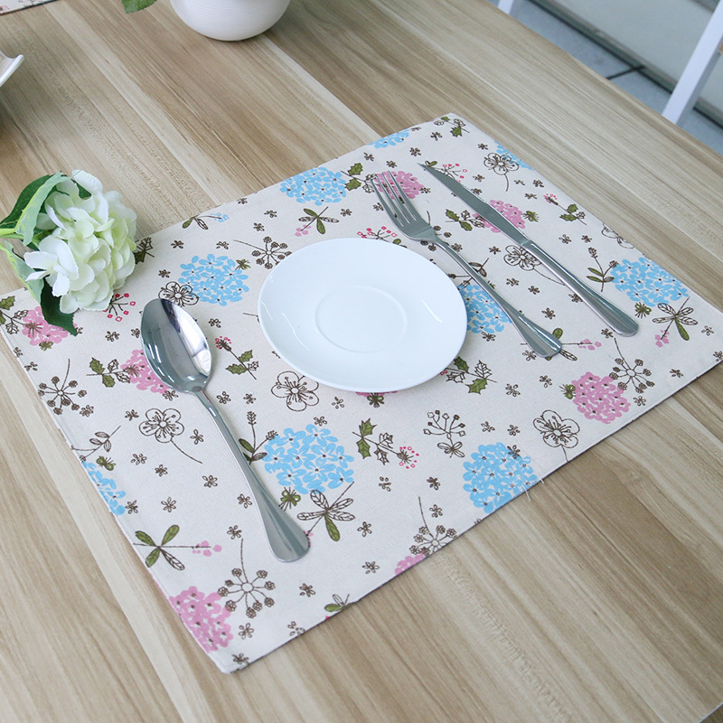 pink blue flower pattern print cotton linen table mat for dining table bowl cup pad kid party kitchen cafe shop table decoration - Kitchen Table Mats