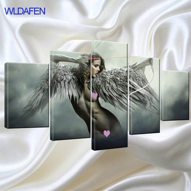 5 Piece Canvas Art Sets Fantasy Angel Warrior Wing Painting Room Decor Anime Girl Poster Wall