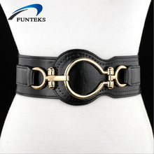 FUNTEKS 2017 Belt Woman High Quality Leather Elastic Wide Belts for Women Dress Female Decoration Belts for Coat Ceinture Femme