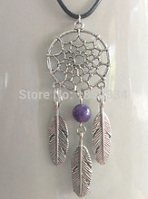 Antique Silver Dreamcatcher &Feather Amethysts Beads Charms Statement Leather Strap Collar Choker Necklaces Pendants Jewelry B16(China)