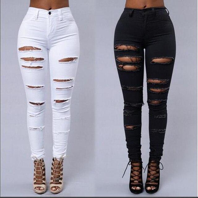 witte jeans met scheuren dames