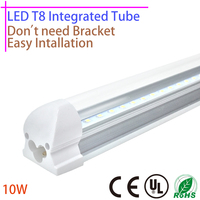 LED T8 Integrated Tube 10w 600mm 110v 220v 85 265v Transparent Clear Cover Milky Cover Free