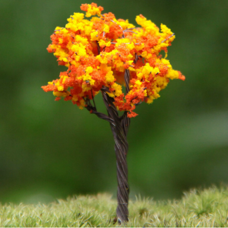 3Pcs/ orange artificial tree/miniatures/cute plants/fairy garden gnome/moss terrarium decor/crafts/bonsai/bottle garden/p002 DIY