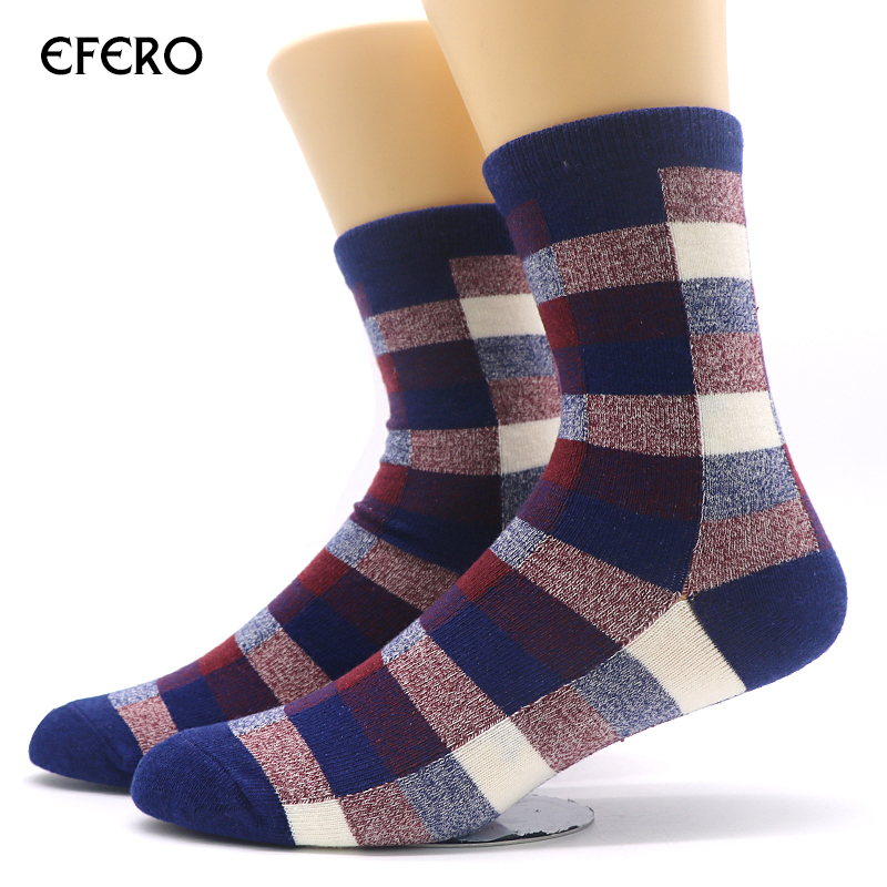 efero Mens Socks Colorful Grid Pattern Calcetines Socks for Men Winter Warm Socks Bussiness Dress Sock Meias Masculinas 3pairs