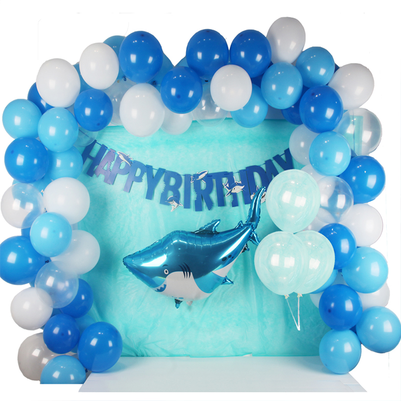 118pcs Shark Birthday Party Supplies Foil Balloon Latex baby shark birthday party Sea Theme Baby Shower Decoration for Boys Girl in Ballons Accessories from Home Garden