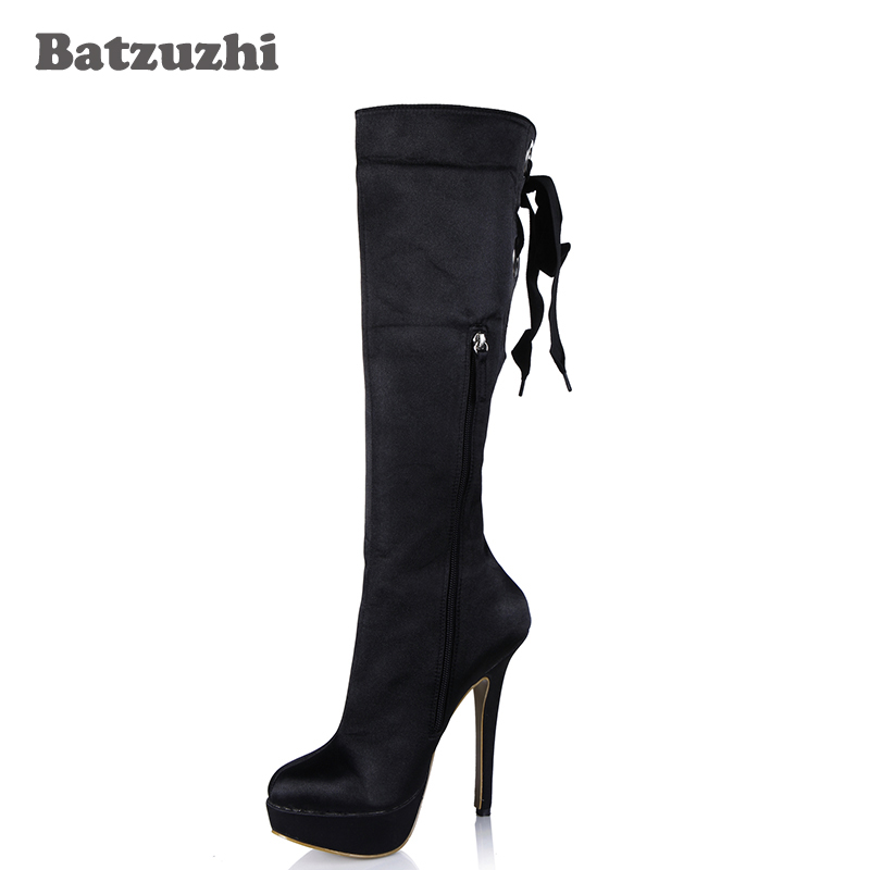 Batzuzhi-2018 Fashion Handmade Women Boots Back with Lace-up 14cm Sexy High Heel Knee High Boots Platfrom Party Boots for Women batzuzhi 2018 new handmade women ankle boots 14cm platfrom short boots for women sexy winter warm plush ankle boots for women
