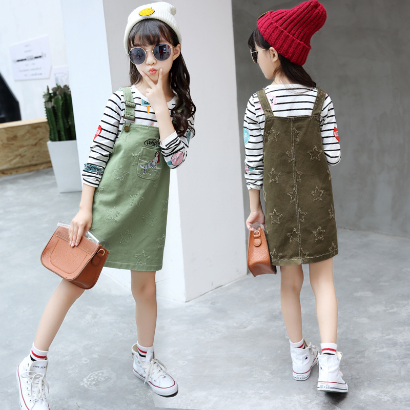 2017 new Girls spring and autumn cotton five-pointed star strap dress with long sleeves t-shirt two-piece sets 5 6 7 8 9 10 year