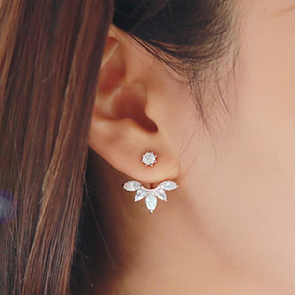 2017 New Zircon Crystal Ear Cuff Clip Leaf Stud Earrings For Women Jacket Piercing Earrings Fine