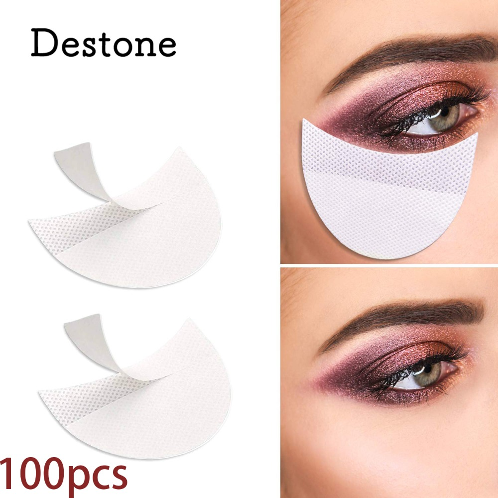 Destone 100Pcs Eyeshadow Pads Stencils Lint Free Under Eye Pads Eyeshadow Patches For Eyelash Extensions/Lip Makeup Professional