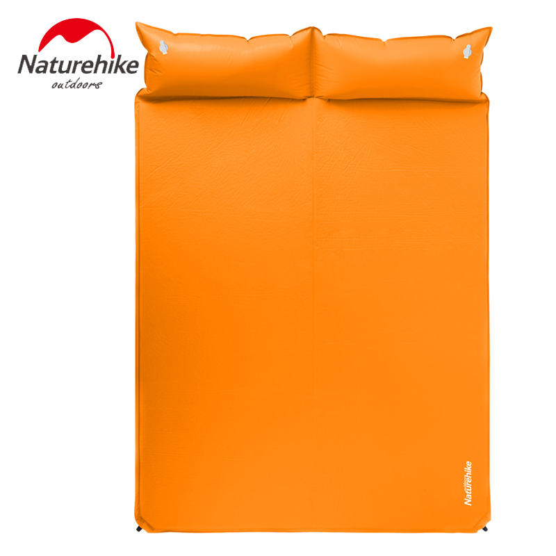 Naturehike inflatable mattress beach mat Automatic air mattress camping mat air bed with Pillow sleeping pad 185*130*2.5cm rockies single183cm x 55cm r3 8 thermal resistance watetproof cushion sleeping mattress pad air bed
