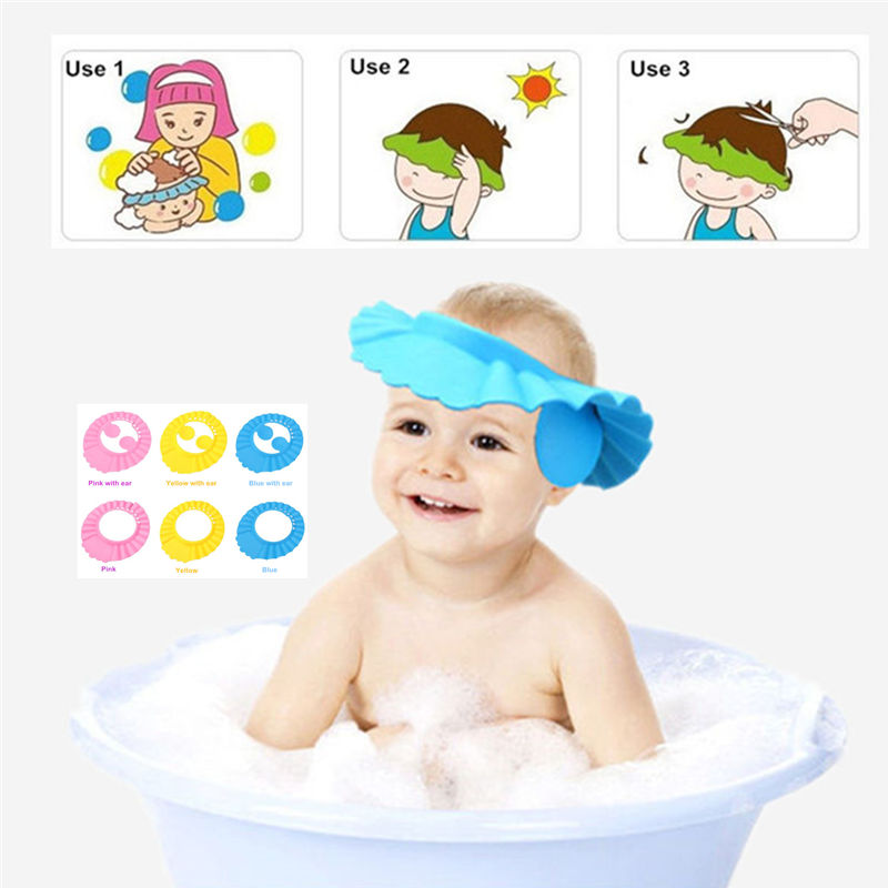 New Adjustable EVA Soft Baby Shampoo Shower Cap Baby Care Bath Protection hat  For Kids 6 styles Wash Hair cut Shield with ear