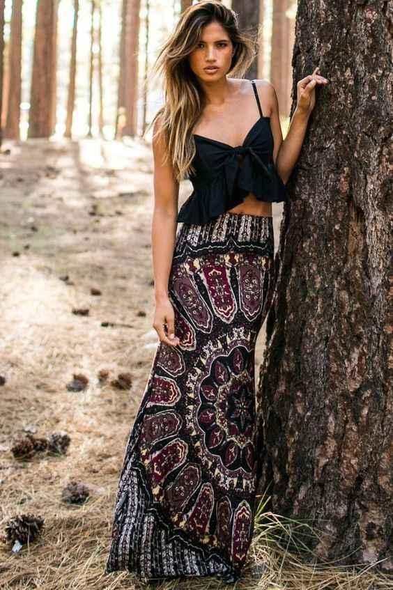 0a972275766f ... Beach Clothing Casual Summer Sexy Women Skirts BOHO Hippy Women Summer  Floral Vintage Long Maxi Slim ...