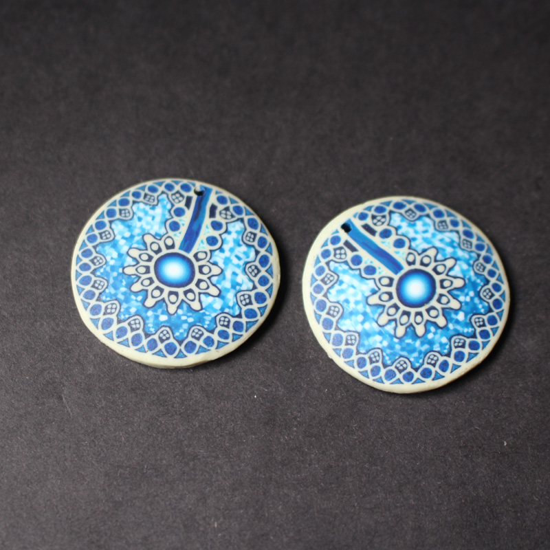 Beautiful 6pcs/lot 30mm*3.2mm Polymer Clay Round Parts With Blue Coating For Necklace Earring Fine Workmanship Beads