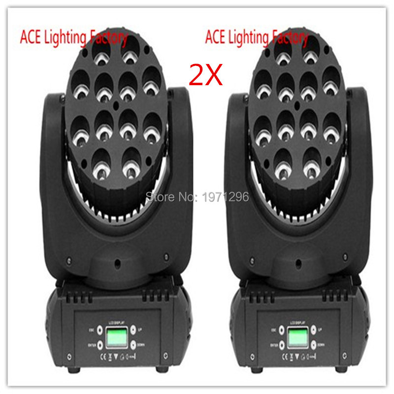 2pcs/lot Free&Fast Shipping hot sale LED Beam Moving Head Light 12x 12W RGBW Quad LEDs With Excellent Pragrams 11/15 Channels
