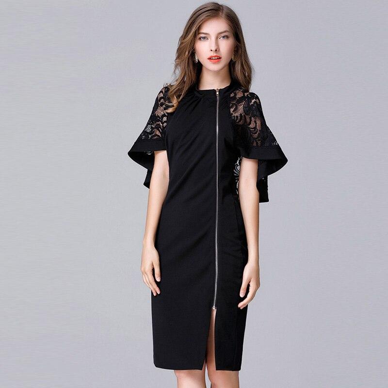 Women Autumn New Lace Chiffon Large Size Dress 5xl Plus Size