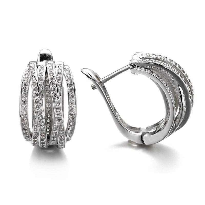 Vecalon Brand Office Lady Jewelry Circle Dangle earrings AAAAA Zircon Cz White Gold Filled wedding Drop Earrings for women