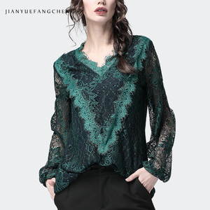 Image 2 - Lace Shirt Hollow Out Floral Blouse Women Long Sleeve triangle ruffle Top Solid Color Loose 2019 Fashion Sexy Korean Clothing