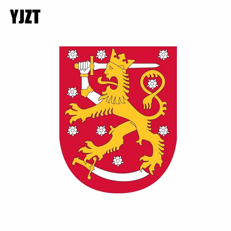 YJZT 10CM*12.5CM Personality Car Sticker Reflective Finland Arms Shield Decal 6-0611