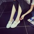 Обувь Женщина Женщины Белые туфли Мода Шнурки Квартиры Мокасины Поскользнуться На женщин Плоские Туфли Sapato женщина для с2 3 цветов