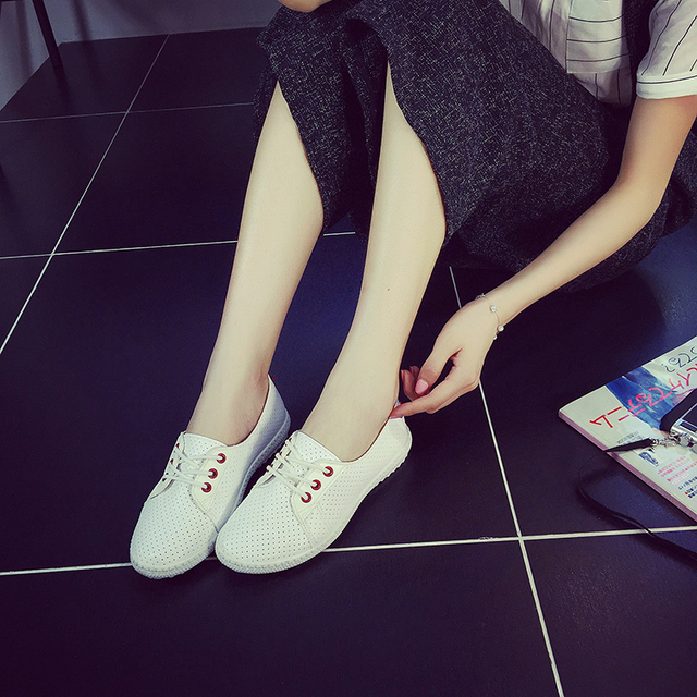 Shoes Woman   Women White shoes Fashion Shoelace Flats  Loafers Slip On Women's Flat Shoes  Sapato Feminino c2 3 colors